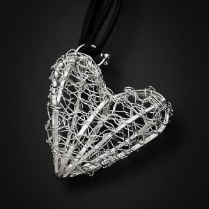 Silver Heart Pendant Necklace in Black