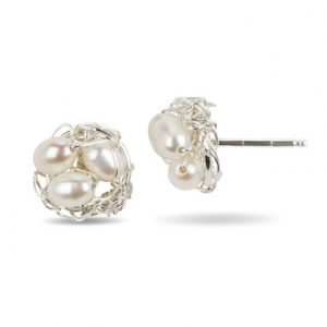Silver Pearl Post Earrings in White