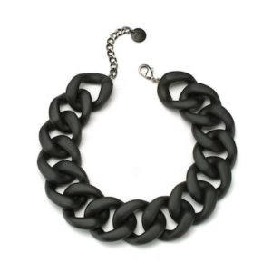 Resin Choker Chain Necklace in Black