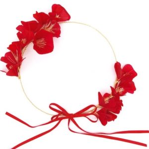 Bridal Flower Circlet Headpiece with Red Silk Flowers