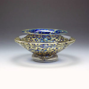 Glass Flower Bowl in Blue and Gold
