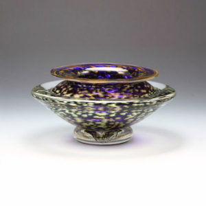 Glass Flower Bowl in Purple and Gold