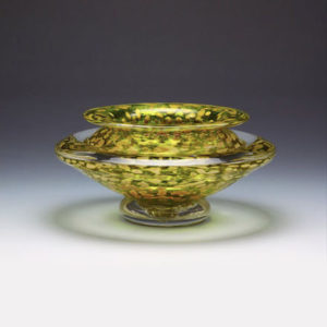 Glass Flower Bowl in Yellow and Gold