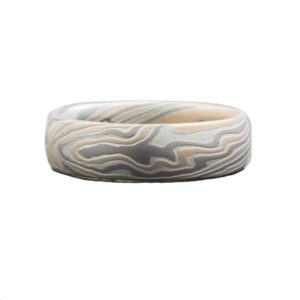 Mokume Gane Wedding Ring in Gold and Silver