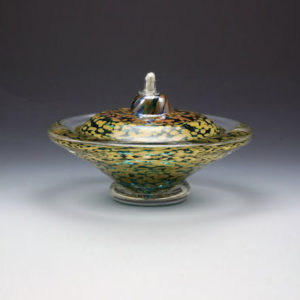 Glass Oil Lamp in Green and Gold