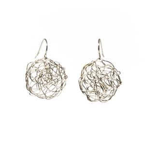 Silver Drop Earrings in Disc