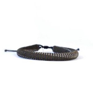 Micro Bead Men's Bracelet in Dark Brown and Blue