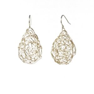 Silver Teardrop Earrings in Nest