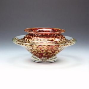 Glass Flower Bowl in Red and Gold
