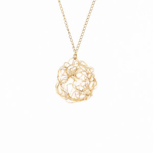 Gold Spun Disc Pendant Necklace