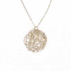 Silver Spun Disc Pendant Necklace